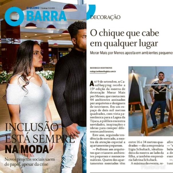 MORAR MAIS POR MENOS no caderno GLOBO BARRA, do Jornal O Globo, de 05 de agosto de 2018 - com capa