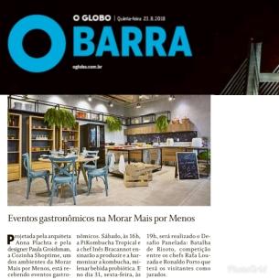 MORAR MAIS POR MENOS no caderno Globo Barra, do jornal O GLOBO, em 23 de agosto de 2018