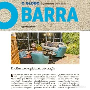 MORAR MAIS POR MENOS no caderno GLOBO BARRA, do jornal O GLOBO, em 30 de agosto de 2018
