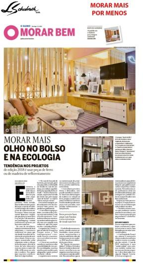 MORAR MAIS POR MENOS no caderno MORAR BEM, do Jornal O Globo, de 05 de agosto de 2018 - parte 1