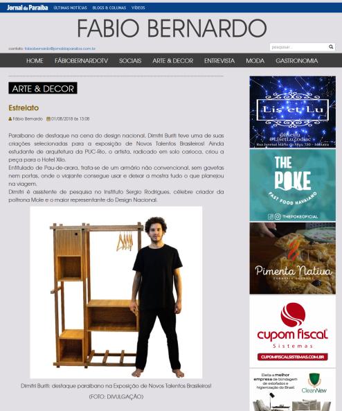 NOVOS TALENTOS BRASILEIROS no portal do Fabio Bernardo em 1 de agosto de 2018