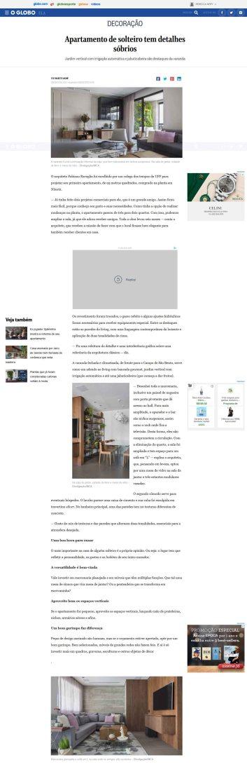 Projeto do arquiteto FABIANO RAVAGLIA no site da Revista Ela em 9 de agosto de 2018