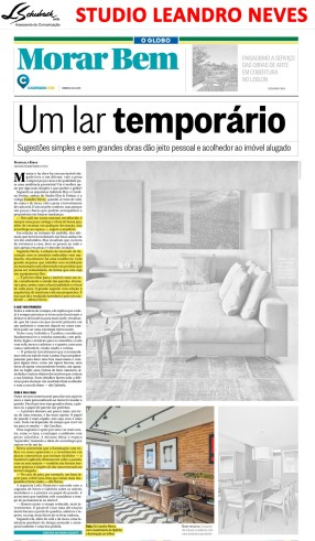 STUDIO LEANDRO NEVES na capa do caderno Morar Bem do jornal O Globo em 24 de junho de 2018