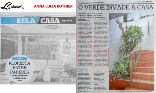 ANNA LUIZA ROTHIER no caderno BELA CASA, do jornal Extra, em 02 de setembro de 2018