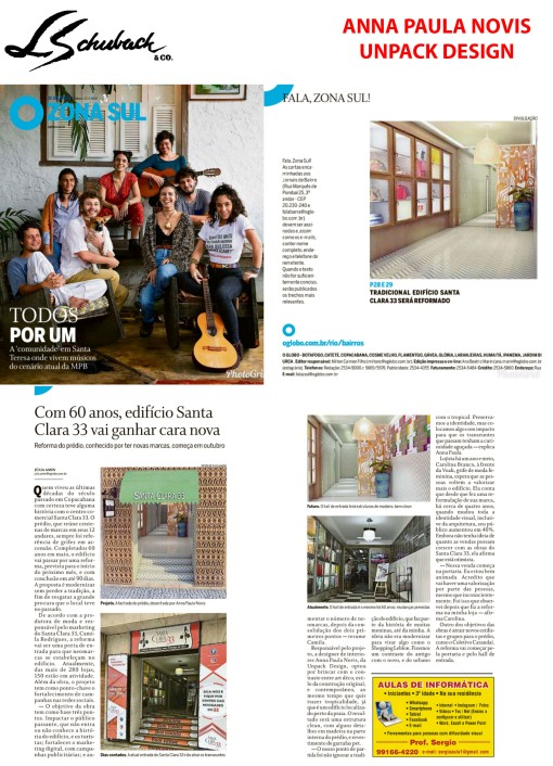 ANNA PAULA NOVIS no caderno Zona Sul, do jornal O Globo, em 23 de setembro de 2018