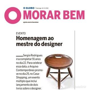 ARQUIVO CONTEMPORÂNEO no Caderno Morar Bem do jornal O Globo em 19 de setembro de 2018