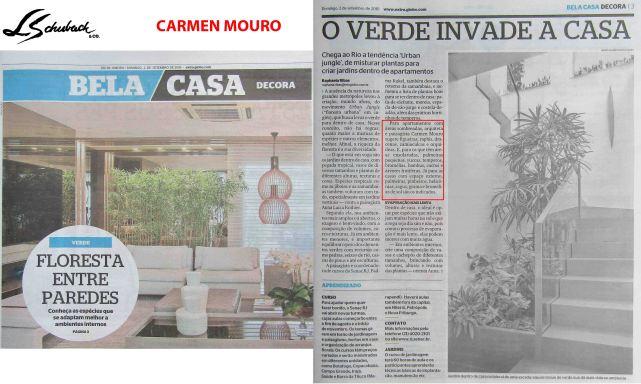 CARMEN MOURO no caderno BELA CASA, do jornal Extra, em 02 de setembro de 2018
