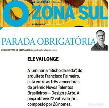 Exposição NOVOS TALENTOS BRASILEIROS - DESIGN E ARTE no caderno Globo Zona Sul do jornal O Globo em 8 de setembro de 2018