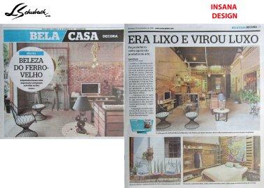 Insana no caderno BELA CASA do jornal EXTRA do dia 31 de setembro de 2018