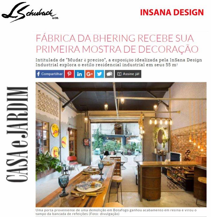 InSana no site da Casa & Jardim postado em 20 de setembro de 2018