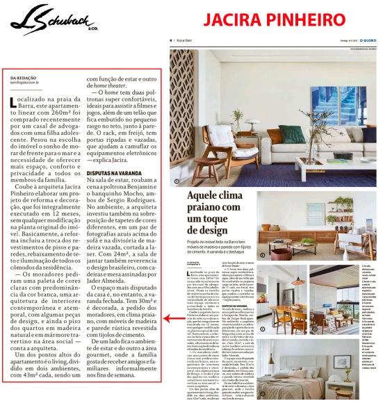 JACIRA PINHEIRO no caderno MORAR BEM, do JORNAL O GLOBO, em 16 de setembro de 2018