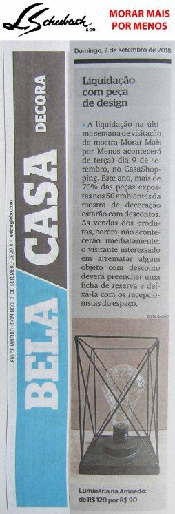 MORAR MAIS POR MENOS no caderno BELA CASA, do jornal Extra, em 02 de setembro de 2018