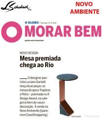 NOVO AMBIENTE no caderno MORAR BEM, do jornal O Globo, em 23 de setembro de 2018