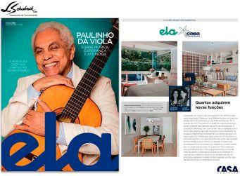 Projeto das arquitetas CRISTINA e LAURA BEZAMAT na revista Ela do jornal O Globo em 9 de setembro de 2018