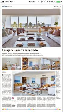 Projeto das arquitetas ROBERTA MOURA e PAULA FARIA no caderno MORAR BEM do jornal O Globo de 2 de setembro 2018