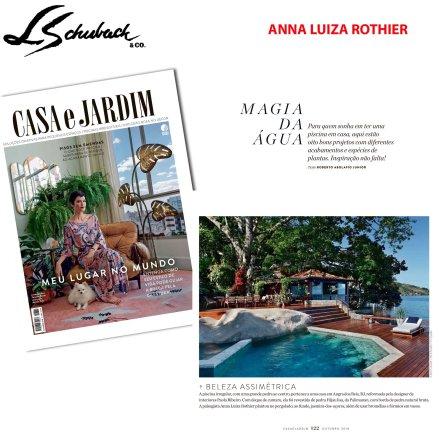 ANNA LUIZA ROTHIER na revista CASA E JARDIM em outubro de 2018