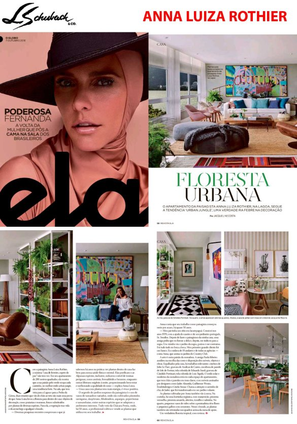 ANNA LUIZA ROTHIER na revista ELA, do jornal O GLOBO, em 7 de outubro de 2018