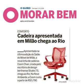 NOVO AMBIENTE no caderno MORAR BEM do jornal O GLOBO publicado em 21 de outubro 2018
