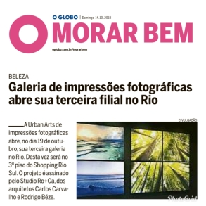 URBAN ARTS no caderno MORAR BEM, do jornal O GLOBO, em 14 de outubro de 2018