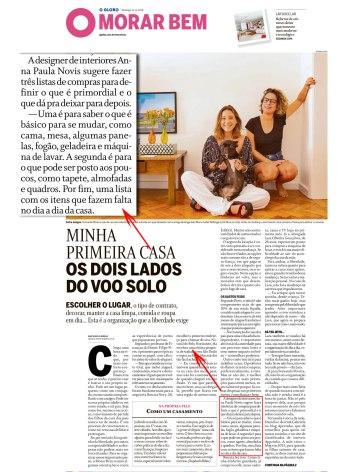 ANNA PAULA NOVIS no caderno Morar Bem, do jornal O Globo, em 11 de novembro de 2018