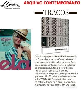 ARQUIVO CONTEMPORÂNEO na Revista Ela do jornal O Globo em 11 de novembro de 2018