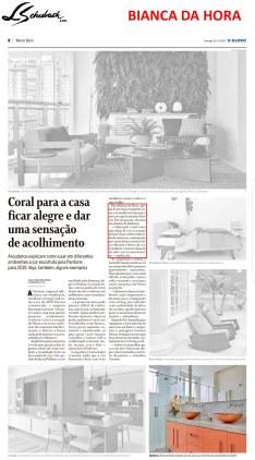 bianca da hora no caderno morar bem, do jornal o globo, em 16 de dezembro de 2018