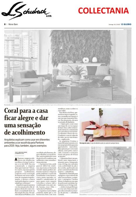 collectania no caderno morar bem, do jornal o globo, em 16 de dezembro de 2018