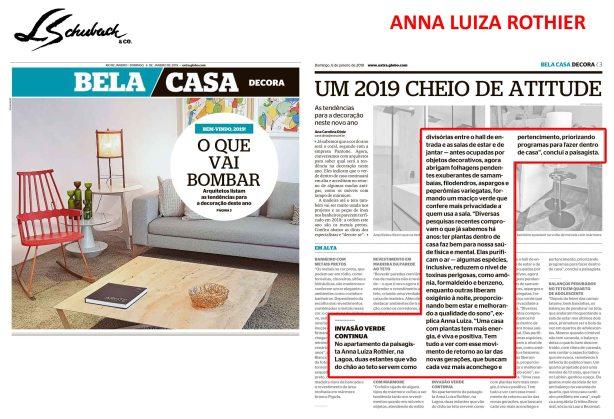 ANNA LUIZA ROTHIER no caderno BELA CASA, do Jornal Extra, em 06 de janeiro de 2019