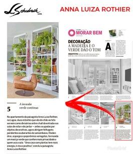 ANNA LUIZA ROTHIER no caderno MORAR BEM, do jornal O Globo, em 20 de janeiro de 2018