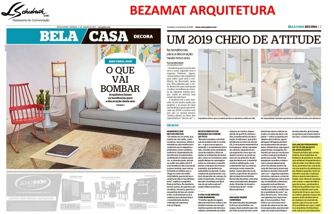 BEZAMAT ARQUITETURA no caderno Bela Casa do jornal Extra em 6 de janeiro de 2019
