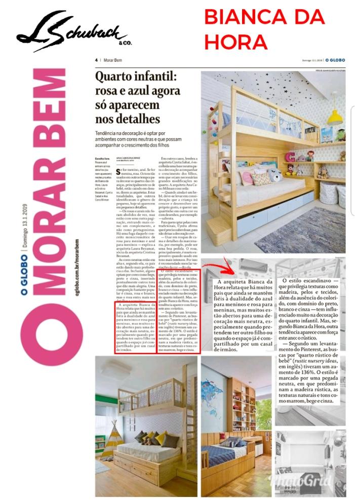 BIANCA DA HORA do caderno MORAR BEM, do jornal O Globo, em 13 de janeiro de 2018