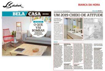 BIANCA DA HORA no caderno BELA CASA, do Jornal Extra, em 06 de janeiro de 2019