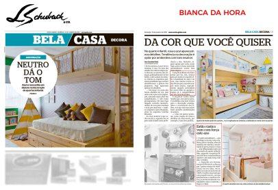 BIANCA DA HORA no caderno BELA CASA, do Jornal Extra, em 13 de janeiro de 2019