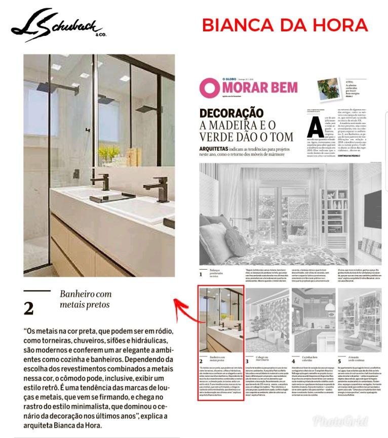 BIANCA DA HORA no caderno MORAR BEM, do jornal O Globo, em 20 de janeiro de 2019