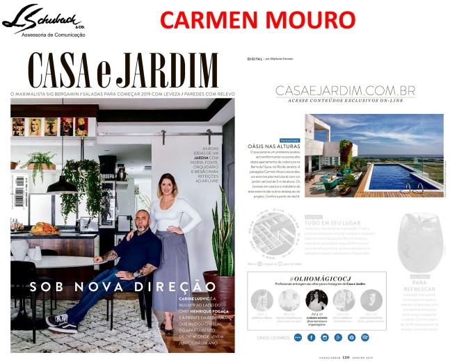 CARMEN MOURO na revista Casa e Jardim de janeiro de 2019