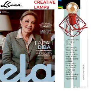 CREATIVE LAMPS na Revista Ela, do jornal O Globo, em 13 de janeiro de 2019