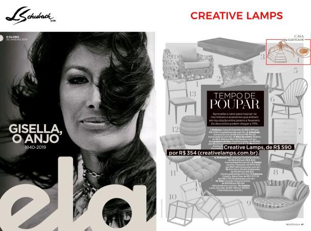 CREATIVE LAMPS na revista ELA, do jornal O Globo, em 20 de janeiro de 2018