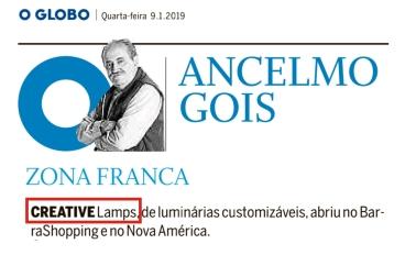CREATIVE LAMPS no ANCELMO GOIS de 9 de janeiro de 2019