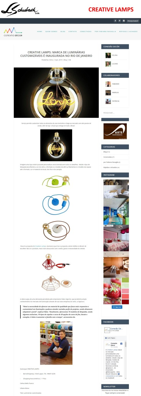 CREATIVE LAMPS no site CONEXÃO DECOR em 9 de janeiro de 2019