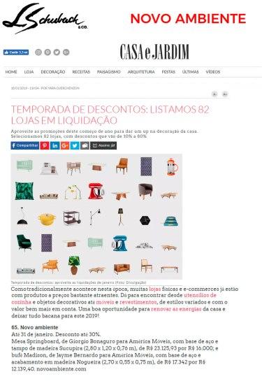 NOVO AMBIENTE no site da CASA E JARDIM em 18 de janeiro de 2019