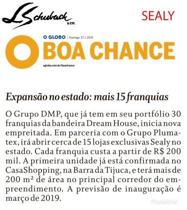 SEALY no caderno BOA CHANCE do jornal O GLOBO de 27 de janeiro de 2019