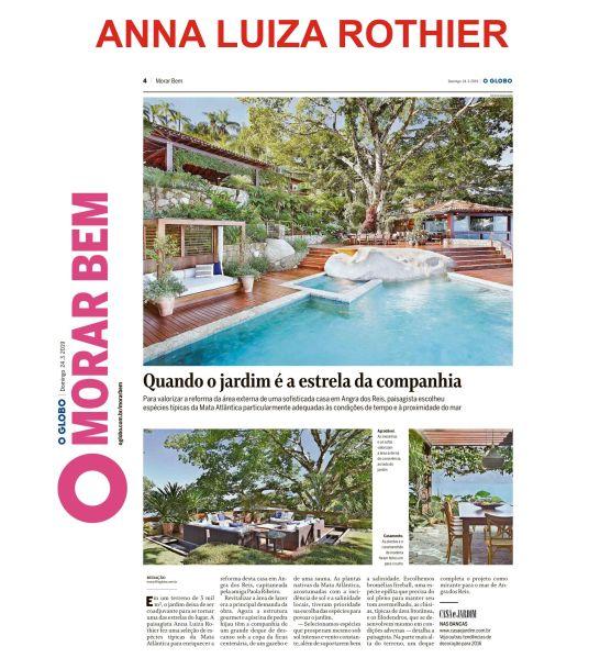 ANNA LUIZ ROTHIER no caderno MORAR BEM do jornal O GLOBO de 24 de março de 2019