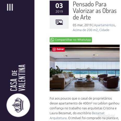 BEZAMAT ARQUITETURA no site CASA DE VALENTINA publicado em março de 2019