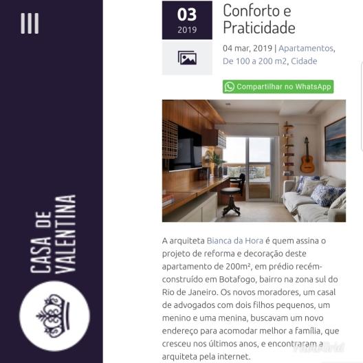 BIANCA DA HORA no site CASA DE VALENTINA publicado em março de 2019