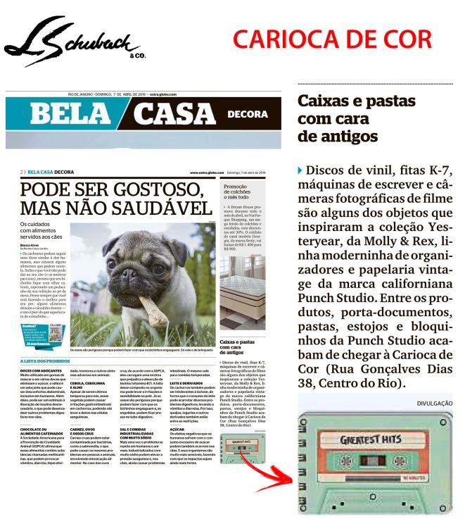 CARIOCA DE COR no caderno BELA CASA, do Jornal Extra, em 07 de abril de 2019