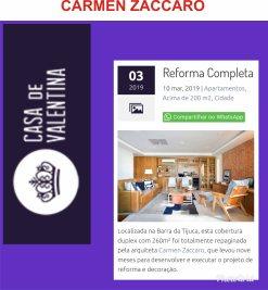 CARMEN ZACCARO no site CASA DE VALENTINA publicado em 11 de março de 2019