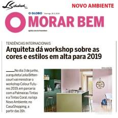 NOVO AMBIENTE no CADERNO MORAR BEM, do JORNAL O GLOBO, de 26 de maio de 2019