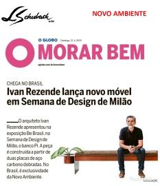 NOVO AMBIENTE no caderno MORAR BEM, do jornal O GLOBO, em 21 de abril de 2019