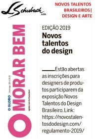NOVOS TALENTOS BRASILEIROS no caderno MORAR BEM, do jornal O GLOBO, em 28 de abril de 2019