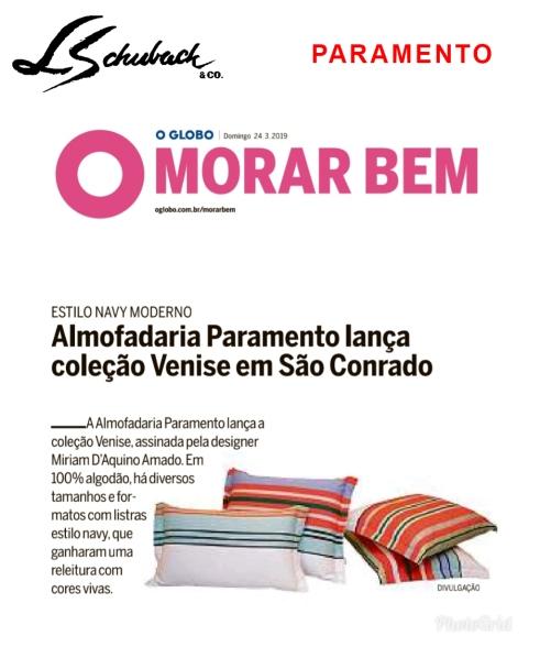 PARAMENTO no caderno MORAR BEM, do jornal O Globo, em 24 de março de 2019